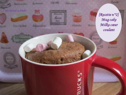 Miniature mug cake milka coeur coulant