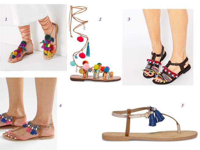 Les sandales à pompons chaussures tendance été 2016
