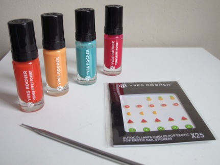 nail art pop exotic yves rocher autocollants couleurs vernis à ongles
