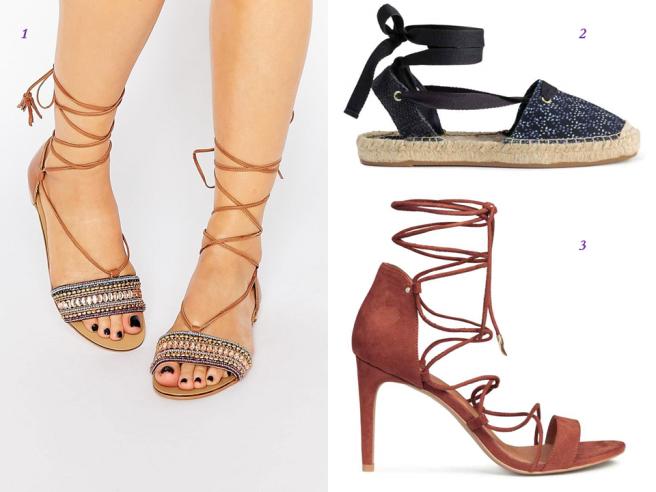 pièces tendance vêtements lacets laçage mode 2016 chaussures sandales talons espadrilles
