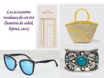 accessoires tendance été mode lunettes de soleil sac bijoux