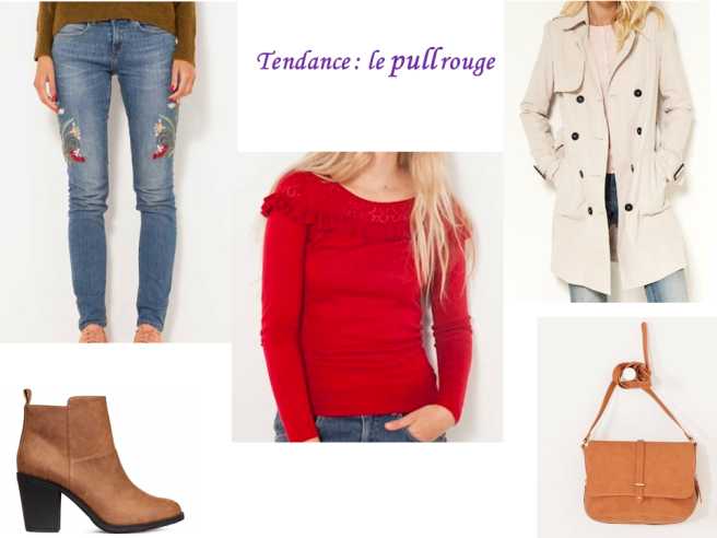 looks d'automne tendance pull rouge
