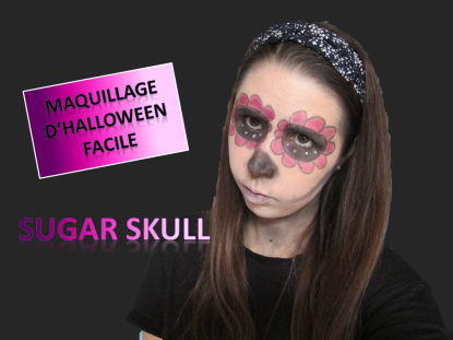 miniature maquillage d'halloween facile sugar skull