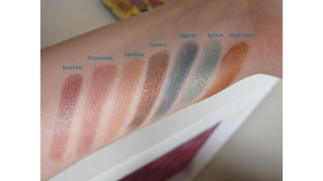 Swatch 2 palette Tarte be a mermaid and make waves