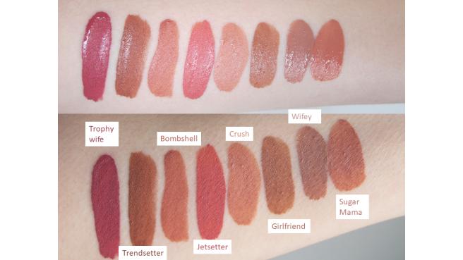 swatch rouge à lèvres liquide mat huda beauty