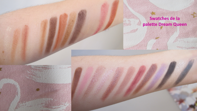 Swatches palette Dream Queen Too Faced coffret